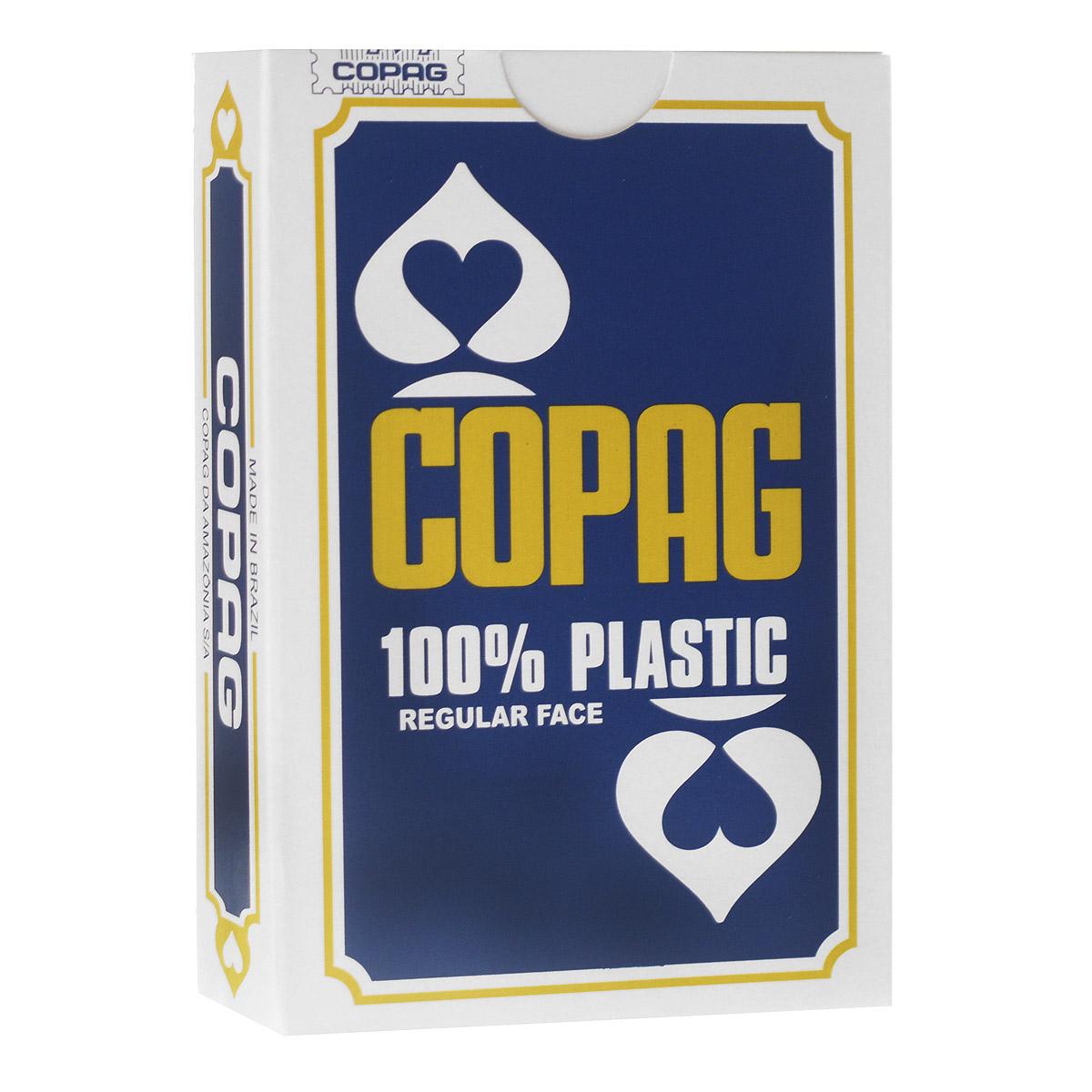 Карты игральные Copag Бридж, цвет: синий, 54 карты104005124Игральные карты Copag Бридж изготовлены из пластика, что сохранит карты от выцветания и изнашивания. По сравнению с классическими колодами, данная колода имеет специальную уменьшенную ширину (57 мм), что является стандартом для игры в бридж. Карты такого размера удобно держать в руках. Они имеют классический дизайн и стандартные индексы. Карты идеально подходят для фокусов, пасьянсов и карточных игр. Комплектация: 54 шт. Размер карты: 9 см х 5,7 см.
