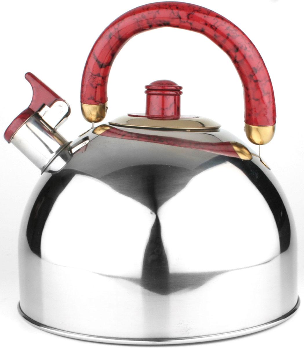 20440 Чайник нерж/сталь(5,5л) MB цветн/руч (х12)20440Чайник со свистком металлический (5,5 л) Материал: нержавеющая сталь, бакелит, литое дно Размер упаковки: 22х20х22 см Объем: 5,5 л Вес: Чайник выполнен из высококачественной нержавеющей стали 18/10. Капсулированное дно с прослойкой из алюминия обеспечивает наилучшее распределение тепла. Носик чайника оснащен насадкой-свистком, что позволит вам контролировать процесс подогрева или кипячения воды. Пластиковая ручка зафиксирована, это дает дополнительное удобство при разлитии напитка, поверхность чайника гладкая, что облегчает уход, а блекс придает чайнику шикарный внешний вид. Чайник подходит для использования на всех типах плит. Эстетичный и функциональный, с эксклюзивным дизайном, чайник будет оригинально смотреться в любом интерьере. Также изделие можно мыть в посудомоечной машине.