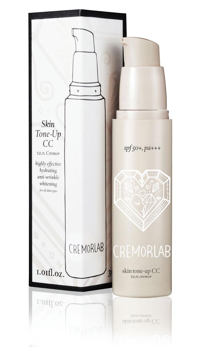 Cremorlab T.E.N. Cremor CC Крем Skin Tone-Up CC, SPF50+, 30 мл61409Выравнивающий дневной крем с легким тональным эффектом. Обладает нежной текстурой с высокой степенью покрытия и создает удивительно естественный и совершенный тон кожи, идеально маскирует расширенные поры и морщины, неоднородность тона, и другие дефекты кожи, не создавая эффекта маски. Микроскопические цветные капсулы рассыпаются при попадании на кожу, подстраиваются к ее цвету и создаются покрытие-основу для безупречного макияжа в течение всего дня, а также уменьшает трансэпидермальный уровень потери влаги. Активные ингредиенты натурального и растительного происхождения способствуют восстановлению кожи, обеспечивают пролонгированное увлажнение на весь день. Крем успокаивает, ухаживает, контролирует выделение себума, защищает от негативного воздействия окружающей среды и от воздействия UV лучей (SPF50+, PA+++) сохраняя молодость вашей кожи.