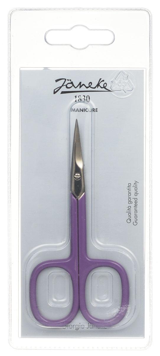Janeke Ножницы маникюрные, закругленные, цвет: фиолетовый. MP118C699429Маникюрные ножницы Janeke изготовлены из высококачественного металла и предназначены как для домашнего использования, так и в области профессионального маникюра. Лезвия плотно сходятся, режут точно и с минимумом усилий. Товар сертифицирован.
