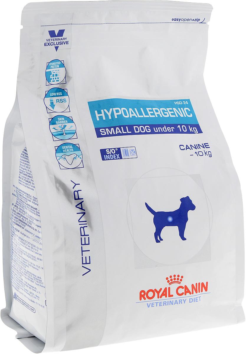 Корм сухой диетический Royal Canin Hypoallergenic HSD 24 для собак весом от 1 до 10 кг, при пищевой аллергии или непереносимости, 1 кг22316Сухой корм Royal Canin Hypoallergenic HSD 24 - полноценный диетический рацион для взрослых собак маленьких размеров (вес взрослой собаки менее 10 кг, возраст от 10 месяцев), рекомендуемый при пищевой аллергии или пищевой непереносимости некоторых ингредиентов и нутриентов. Специально подобранные источники белков и углеводов. Показания к применению: Для взрослых собак весом менее 10 кг в следующих случаях: - исключающая диета; - аллергия алиментарной природы, проявляющаяся нарушениями со стороны кожного покрова или пищеварительного тракта; - пищевая непереносимость; - хроническое воспаление кишечника; - экзокринная недостаточность поджелудочной железы; - хроническая диарея; - пролиферация бактерий в тонком кишечнике. Противопоказания: - не имеется. Длительность курса применения: Если предполагается аллергия алиментарной природы или непереносимость корма, корм Royal Canin Hypoallergenic HSD 24...