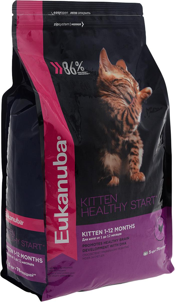 Корм сухой для котят Eukanuba Kitten Healthy Start, с домашней птицей, 5 кг10150511Сухой корм Eukanuba Kitten Healthy Start - полнорационный сухой корм для котят от 1 до 12 месяцев и беременных или кормящих кошек. Корм Eukanuba для котят содержит докозагексаеновую кислоту, способствующую правильному развитию мозга котят. 100% сбалансированный корм, поддерживает здоровье котенка по ключевым признакам и обеспечивает здоровый рост. 1. ЗДОРОВЫЙ РОСТ Поддерживает здоровый рост организма за счет сбалансированного высококачественного питания. 2. НАДЕЖНАЯ ЗАЩИТА Способствует поддержанию иммунной системы за счет антиоксидантов. 3. ОПТИМАЛЬНОЕ ПИЩЕВАРЕНИЕ Способствует поддержанию здоровой кишечной микрофлоры за счет пребиотиков и клетчатки. 4. СИЛЬНЫЕ МЫШЦЫ Белки животного происхождения способствуют росту и сохранению мышечной массы. Содержит 86% животного белка (от общего уровня белка). 5. ЗДОРОВЬЕ КОЖИ И ШЕРСТИ Способствует сохранению здоровья кожи и блестящей шерсти, благодаря рыбьему жиру и оптимальному...