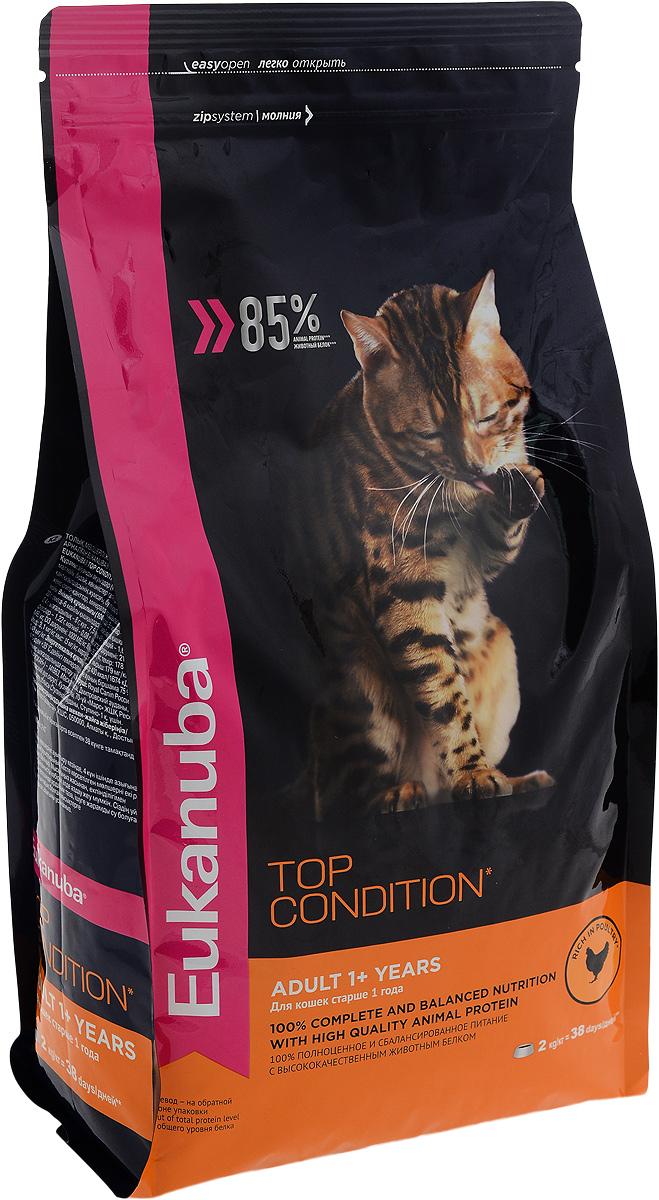 Корм сухой Eukanuba Top Condition для взрослых кошек, с домашней птицей, 2 кг10144113Сухой корм Eukanuba Top Condition - полнорационный сухой корм для взрослых кошек старше 1 года. 100% полноценное и сбалансированное питание с высококачественным животным белком. Поддерживает здоровье кошки по шести ключевым признакам и обеспечивает отличную физическую форму. 1. НАДЕЖНАЯ ЗАЩИТА Способствует поддержанию иммунной системы за счет антиоксидантов. 2. ОПТИМАЛЬНОЕ ПИЩЕВАРЕНИЕ Способствует поддержанию здоровой кишечной микрофлоры за счет пребиотиков и клетчатки. 3. ЗДОРОВЬЕ МОЧЕВЫВОДЯЩЕЙ СИСТЕМЫ Разработан специально для поддержания здоровья мочевыводящий путей. 4. СИЛЬНЫЕ МЫШЦЫ Белки животного происхождения способствуют росту и сохранению мышечной массы. Содержит 85% животного белка (от общего уровня белка). 5. ЗДОРОВЬЕ КОЖИ И ШЕРСТИ Способствует сохранению здоровья кожи и блестящей шерсти, благодаря рыбьему жиру и оптимальному соотношению омега-6 и омега-3 жирных кислот. 6. ЗДОРОВЫЕ ЗУБЫ Поддерживает...