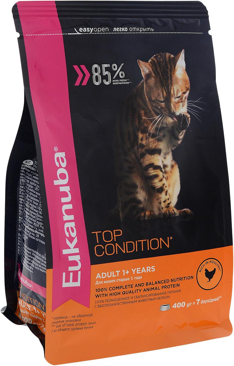 Корм сухой Eukanuba Top Condition для взрослых кошек, с домашней птицей, 400 г10144218Сухой корм Eukanuba Top Condition - полнорационный сухой корм для взрослых кошек старше 1 года. 100% полноценное и сбалансированное питание с высококачественным животным белком. Поддерживает здоровье кошки по шести ключевым признакам и обеспечивает отличную физическую форму. 1. НАДЕЖНАЯ ЗАЩИТА Способствует поддержанию иммунной системы за счет антиоксидантов. 2. ОПТИМАЛЬНОЕ ПИЩЕВАРЕНИЕ Способствует поддержанию здоровой кишечной микрофлоры за счет пребиотиков и клетчатки. 3. ЗДОРОВЬЕ МОЧЕВЫВОДЯЩЕЙ СИСТЕМЫ Разработан специально для поддержания здоровья мочевыводящий путей. 4. СИЛЬНЫЕ МЫШЦЫ Белки животного происхождения способствуют росту и сохранению мышечной массы. Содержит 85% животного белка (от общего уровня белка). 5. ЗДОРОВЬЕ КОЖИ И ШЕРСТИ Способствует сохранению здоровья кожи и блестящей шерсти, благодаря рыбьему жиру и оптимальному соотношению омега-6 и омега-3 жирных кислот. 6. ЗДОРОВЫЕ ЗУБЫ Поддерживает здоровье...