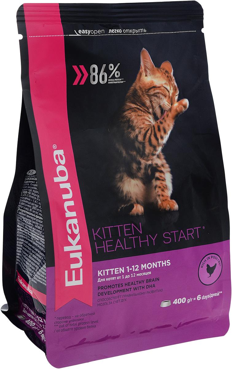 Корм сухой для котят Eukanuba Kitten Healthy Start, с домашней птицей, 400 г10144214Сухой корм Eukanuba Kitten Healthy Start - полнорационный сухой корм для котят от 1 до 12 месяцев и беременных или кормящих кошек. Корм Eukanuba для котят содержит докозагексаеновую кислоту, способствующую правильному развитию мозга котят. 100% сбалансированный корм, поддерживает здоровье котенка по ключевым признакам и обеспечивает здоровый рост. 1. ЗДОРОВЫЙ РОСТ Поддерживает здоровый рост организма за счет сбалансированного высококачественного питания. 2. НАДЕЖНАЯ ЗАЩИТА Способствует поддержанию иммунной системы за счет антиоксидантов. 3. ОПТИМАЛЬНОЕ ПИЩЕВАРЕНИЕ Способствует поддержанию здоровой кишечной микрофлоры за счет пребиотиков и клетчатки. 4. СИЛЬНЫЕ МЫШЦЫ Белки животного происхождения способствуют росту и сохранению мышечной массы. Содержит 86% животного белка (от общего уровня белка). 5. ЗДОРОВЬЕ КОЖИ И ШЕРСТИ Способствует сохранению здоровья кожи и блестящей шерсти, благодаря рыбьему жиру и оптимальному...