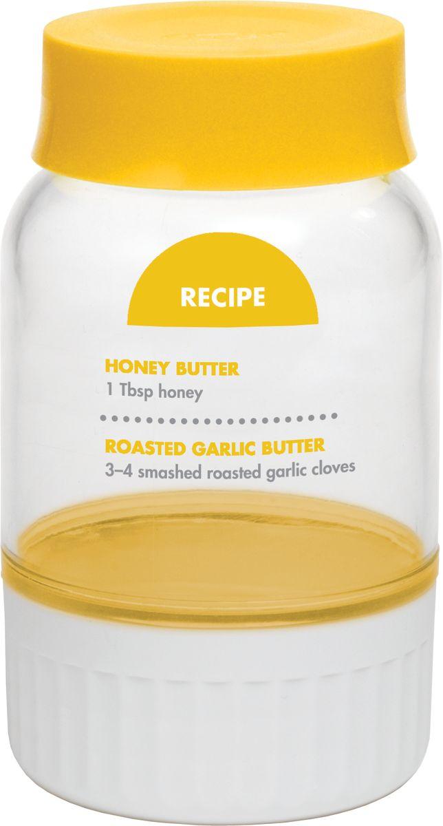 Емкость для взбивания масла Chefn102-568-017Ручная мини маслобойка делает свежее сливочное масло. Налейте сливки, оставьте на 6-8 часов при комнатной температуре, затем встряхните в течение нескольких минут. Слейте жидкость, добавьте немного воды, встряхните и снова слейте. Открутите нижнюю часть и масло останется в пластиковой части контейнера. Можно приготовить масло с разными наполнителями, добавьте травы, лимон, перец чили. Масло можно хранить в течение 5-7 дней в холодильнике. Можно мыть в посудомоечной машине