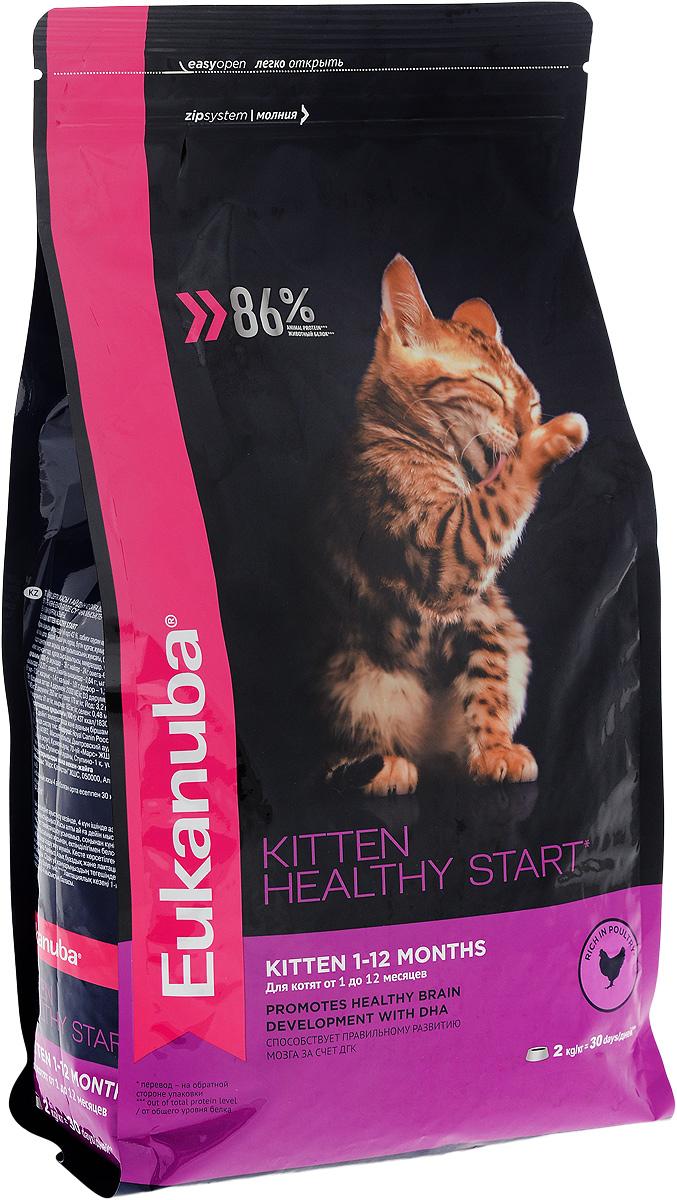 Корм сухой для котят Eukanuba Kitten Healthy Start, с домашней птицей, 2 кг10144103Сухой корм Eukanuba Kitten Healthy Start - полнорационный сухой корм для котят от 1 до 12 месяцев и беременных или кормящих кошек. Корм Eukanuba для котят содержит докозагексаеновую кислоту, способствующую правильному развитию мозга котят. 100% сбалансированный корм, поддерживает здоровье котенка по ключевым признакам и обеспечивает здоровый рост. 1. ЗДОРОВЫЙ РОСТ Поддерживает здоровый рост организма за счет сбалансированного высококачественного питания. 2. НАДЕЖНАЯ ЗАЩИТА Способствует поддержанию иммунной системы за счет антиоксидантов. 3. ОПТИМАЛЬНОЕ ПИЩЕВАРЕНИЕ Способствует поддержанию здоровой кишечной микрофлоры за счет пребиотиков и клетчатки. 4. СИЛЬНЫЕ МЫШЦЫ Белки животного происхождения способствуют росту и сохранению мышечной массы. Содержит 86% животного белка (от общего уровня белка). 5. ЗДОРОВЬЕ КОЖИ И ШЕРСТИ Способствует сохранению здоровья кожи и блестящей шерсти, благодаря рыбьему жиру и оптимальному...