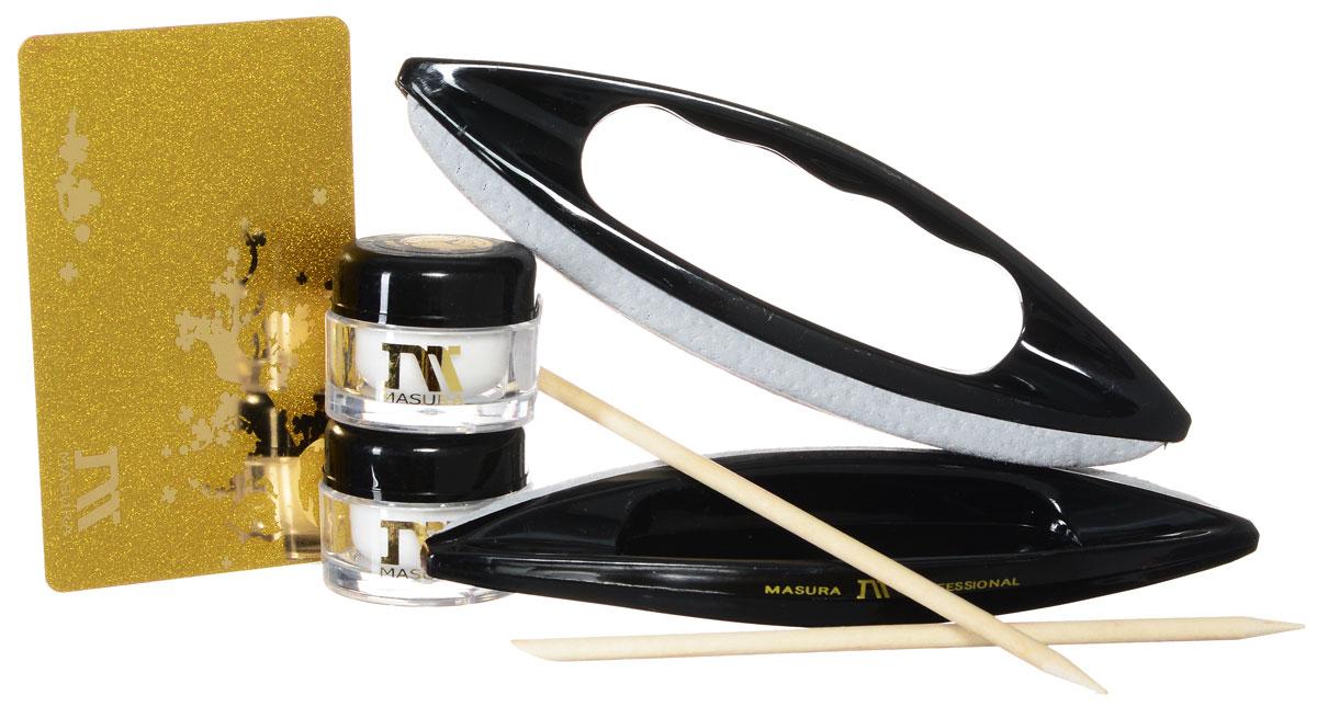 Masura Набор для японского маникюра: паста Ни, пудра Хон, полировочные Кичин-блоки 2 шт, палочки Татибана 2 шт, карта клиента801-1Набор для профессионального Японского маникюра от компании MASURA. - минеральная паста NI (1 шт) - натуральная полировочная пудра HON (1 шт) - полировочный блок KITCHIN из телячьей кожи (2шт) - палочки TATIBANA (2шт) - клубная дисконтная карта MASURA (1шт)