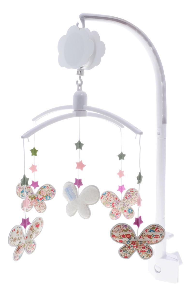 Trousselier Музыкальный мобиль БабочкиVM1166Музыкальный мобиль Trousselier Бабочки - идеальное решение для новорожденного малыша. Мелодия мобиля позволит крохе скорее успокоиться и заснуть. Небольшие мягкие игрушки на подвеске в виде бабочек развлекут малыша. Игрушки изготовлены из приятного на ощупь материала. Мобиль оснащен механическим музыкальным вращающимся блоком. Крепить мобиль нужно на бортик кроватки таким образом, чтобы расстояние от глаз малыша до игрушек не превышало 30 сантиметров, и чтобы игрушки крутились над грудью ребенка для удобной фокусировки зрения. С помощью мобиля ребенок будет учиться концентрировать свой взгляд на движущихся объектах, различать формы и цвета, а также пытаться тянуть ручки к движущимся игрушкам.