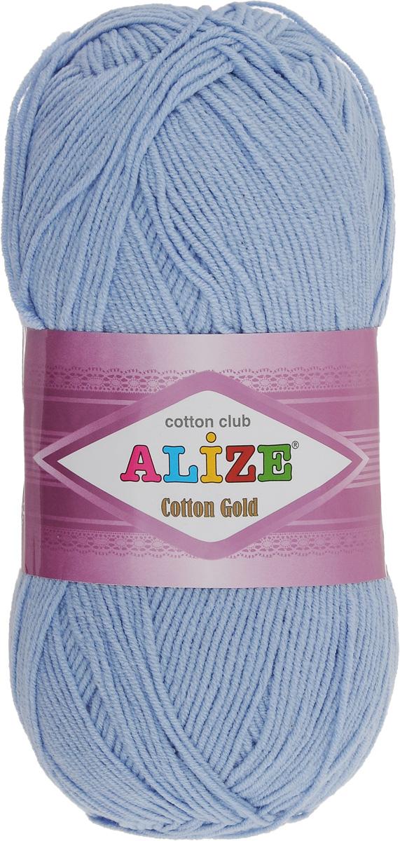 Пряжа для вязания Alize Cotton Gold, цвет: голубой (40), 330 м, 100 г, 5 шт697548_40Пряжа для вязания Alize Cotton Gold - это классическая демисезонная пряжа из хлопка с акрилом. Данная пряжа отлично подойдет для изделий осень-весна. Также подходит для вязания летних вещей взрослым и детям. Мягкая и бархатистая на ощупь. Полотно получается пластичным, мягким, все переплетения ровные. Состав: 55% хлопок, 45% акрил. Рекомендуемый размер спиц: № 3,5 - 5. Рекомендуемый размер крючка: № 2 - 4.