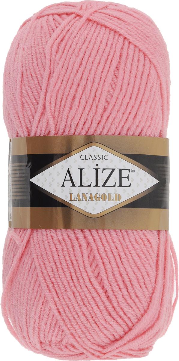 Пряжа для вязания Alize Lanagold, цвет: розовый (265), 240 м, 100 г, 5 шт364095_265Alize Lanagold - это полушерстяная пряжа для ручного вязания. Нить плотно скручена, гибкая, послушная, не пушится, не электризуется, аккуратно ложится в петли и не деформируется после распускания. Стойкое равномерное окрашивание обеспечивает широкую палитру оттенков. Соотношение шерсти и акрила - формула практичности. Высокие тепловые характеристики сочетаются с эстетикой, носкостью и простотой ухода за вещью. Классическая пряжа для зимнего сезона, может использоваться для детской и взрослой одежды. Alize Lanagold - универсальная пряжа, которая будет хорошо смотреться в узорах любой сложности. Рекомендуемый размер спиц: № 4-6 мм. Состав: 49% шерсть, 51% акрил.