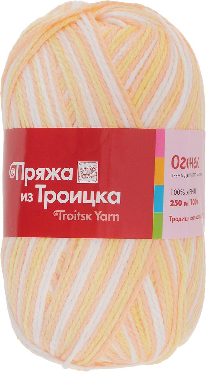 Пряжа для вязания Огонек, цвет: светло-желтый, светло-оранжевый, белый (4034), 250 м, 100 г, 10 шт366004_4034Классическая пряжа Огонек, не очень тугой крутки, представлена богатой палитрой однотонных и секционных расцветок. Состоит из 100% акрила, он придает пряже блеск, который сохраняется после стирки. Легко вяжется, экономична, подходит для обладателей самой чувствительной кожи. С такой пряжей процесс вязания превратится в настоящее удовольствие, а готовое изделие подарит уют и комфорт. Состав: акрил 100%. Рекомендуемые спицы: 3,25 мм.