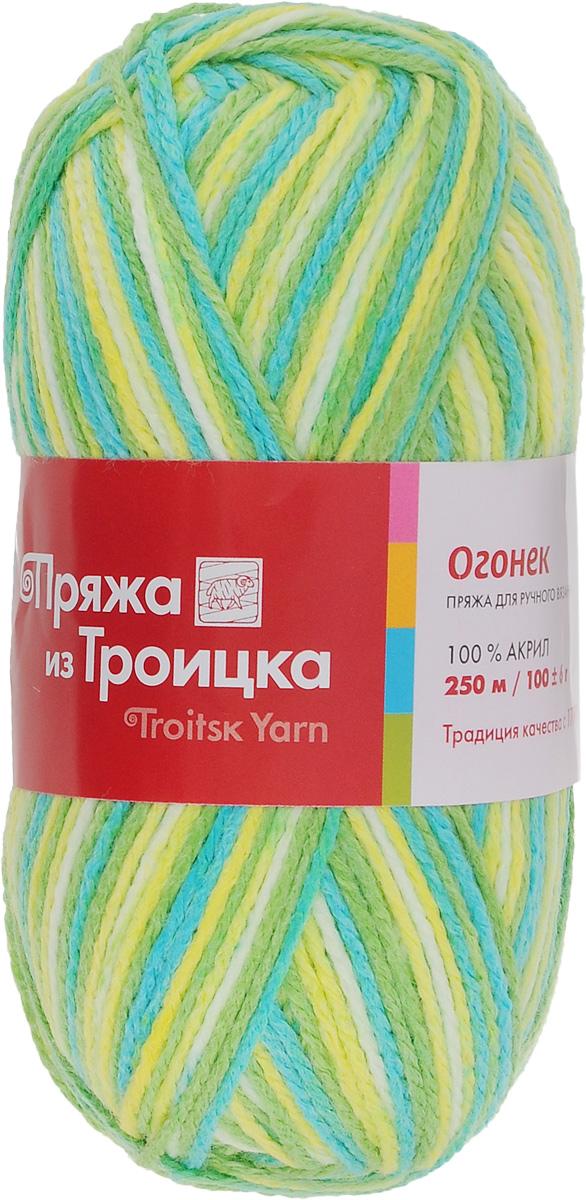 Пряжа для вязания Огонек, цвет: зеленый, бирюзовый, желтый (7174), 250 м, 100 г, 10 шт366004_7174Классическая пряжа Огонек, не очень тугой крутки, представлена богатой палитрой однотонных и секционных расцветок. Состоит из 100% акрила, он придает пряже блеск, который сохраняется после стирки. Легко вяжется, экономична, подходит для обладателей самой чувствительной кожи. С такой пряжей процесс вязания превратится в настоящее удовольствие, а готовое изделие подарит уют и комфорт. Состав: акрил 100%. Рекомендуемые спицы: 3,25 мм.