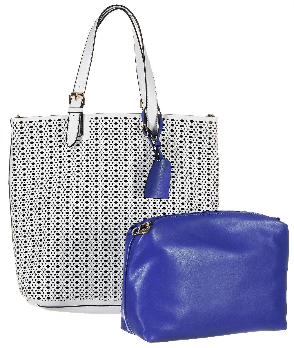 Сумка женская Vitacci, цвет: белый. 13428-213428-2Изысканная женская сумка Vitacci выполнена из качественной искусственной кожи. Удобные ручки выполнены в виде ремешков и регулируются по высоте. Внутри сумка выполнена из бархатной ткани. Внутри сумка оснащена съемным отделением с текстильной подкладкой, выполненным из искусственной кожи синего цвета, внутри которого содержится два накладных кармана для телефона и мелких принадлежностей, а также врезной карман на молнии. Съемное отделение крепиться к основной сумке с помощью ремешков на кнопке, имеет металлические крепежи для плечевого ремешка, поэтому его можно использовать как отдельный аксессуар. Сумка оснащена съемным плечевым ремнем регулируемой длины, которые позволят носить изделие как в руках так и на плече. Ручки сумки декорированы оригинальным брелоком на ремешке. Практичная и стильная сумка прекрасно завершит ваш образ.
