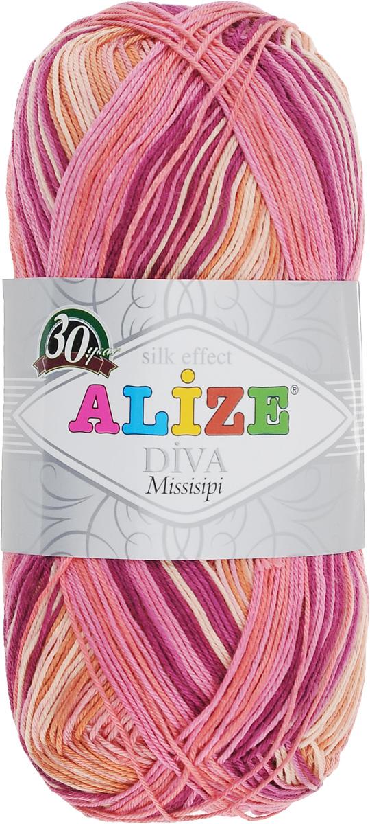 Пряжа для вязания Alize Diva. Missisipi, цвет: сливовый, розовый, бежевый (5635), 350 м, 100 г, 5 шт367020_5635Пряжа для вязания Alize Diva. Missisipi - это тщательно обработанная акриловая пряжа, которая приобретает вид мерсеризованной нити с эффектом шелка. Пряжа обладает отличными свойствами: мягкая, воздухопроницаемая, прочная. Пряжа из микрофибры считается материалом нового поколения. Легкая шелковистая пряжа удлиненной секции окрашивания для весенних или летних вещей. Приятная на ощупь, гигроскопичная она подойдет для сарафанов, туник, платьев, легких костюмов, кофт, шалей и накидок. Пряжа не скатывается, не вызывает аллергию, не линяет и не оставляет ворсинок на другой одежде. Рекомендации по уходу: деликатная ручная стирка при 30°С, не отжимать в стиральной машине, не отбеливать хлорсодержащими веществами. Глажение на минимальной температуре. Сушите на горизонтальной поверхности: предварительно придав изделию естественную форму. Рекомендованный размер спиц: № 2,5-3,5. Рекомендованный размер крючка: № 1-3.