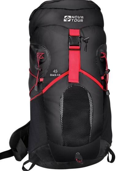 Рюкзак треккинговый Nova Tour Блэк Айс 45, цвет: черный, 40 л12362-000-00Вас приятно удивит инновационная система утяжки объема этого современного стильного рюкзака из легкой нейлоновой ткани. Максимально комфортную вентиляцию гарантирует подвесная система Air Flow, обеспечивающая пространство между рюкзаком и спиной. Необходимые в переходах вещи легко укладываются в эластичный карман на фасаде рюкзака. Если захотелось попить, это можно сделать не остановливаясь, ведь в рюкзаке нашлось отделение и для питьевой системы. Любителей ходить с треккинговыми палками несомненно порадует наличие крепления для этого инвентаря. На концах боковых стяжек имеются липучки для закрепления излишков стропы.