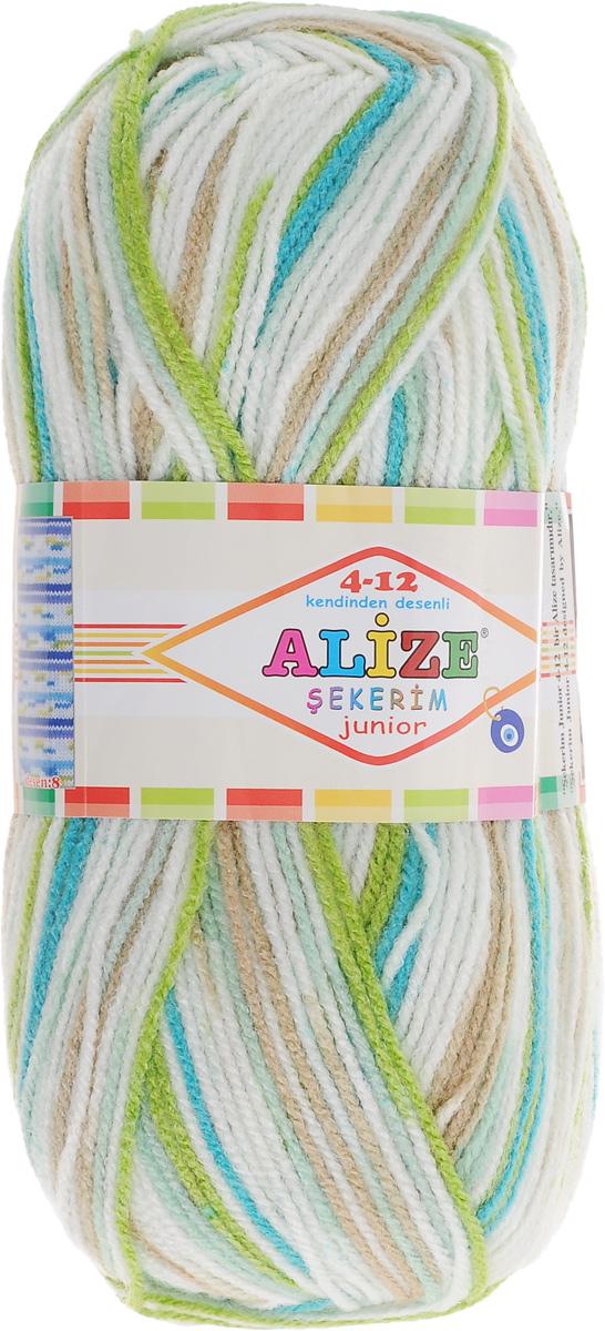 Пряжа для вязания Alize Sekerim Junior, цвет: белый, зеленый, бирюзовый (810), 320 м, 100 г, 5 шт810-989580Пряжа для вязания Alize Sekerim Junior изготовлена из акрила. Фантазийная пряжа для ручного вязания отлично подойдет для детских вещей. Ниточка мягкая и приятная на ощупь. Подходит для вязания спицами и крючком. Рекомендованные спицы 3-4 мм и крючок для вязания 2-4 мм. Состав: 100% акрил.
