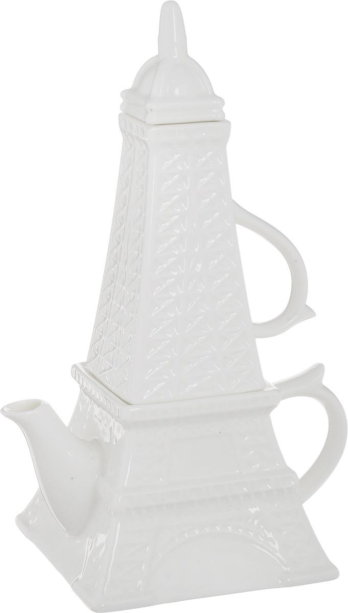 Чайник заварочный Эврика Эйфелева башня, с кружкой95312Стильный чайный набор Эврика Эйфелева башня, выполненный из керамики, в собранном виде напоминает по форме знаменитую парижскую башню, символ Франции. Набор состоит из заварочного чайника и кружки, оснащенных крышками. Возможность компактного хранения и оригинальный дизайн делают этот набор удачным подарком для тех, кто ценит французский шарм и любит проводить время за горячими напитками. Объем чайника: 450 см. Объем кружки: 200 мл. Размер чашки (с учетом ручки): 10 х 6,5 х 12 см. Размер чайника: 17 х 11,5 х 8 см.