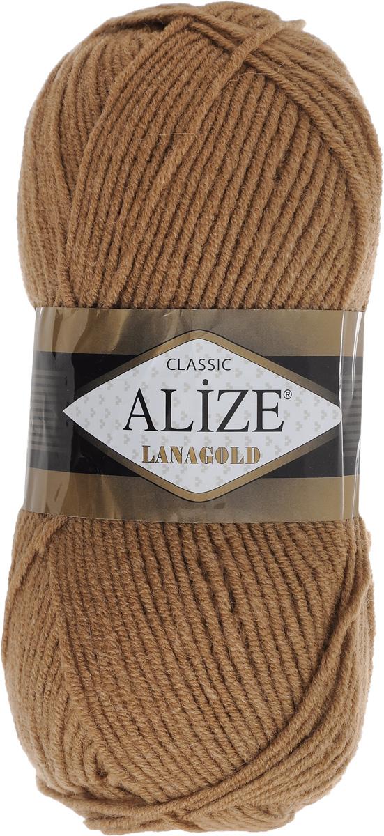 Пряжа для вязания Alize Lanagold, цвет: светло-коричневый (179), 240 м, 100 г, 5 шт364095_179Alize Lanagold - это полушерстяная пряжа для ручного вязания. Нить плотно скручена, гибкая, послушная, не пушится, не электризуется, аккуратно ложится в петли и не деформируется после распускания. Стойкое равномерное окрашивание обеспечивает широкую палитру оттенков. Соотношение шерсти и акрила - формула практичности. Высокие тепловые характеристики сочетаются с эстетикой, носкостью и простотой ухода за вещью. Классическая пряжа для зимнего сезона, может использоваться для детской и взрослой одежды. Alize Lanagold - универсальная пряжа, которая будет хорошо смотреться в узорах любой сложности. Рекомендуемый размер спиц 4-6 мм. Состав: 49% шерсть, 51% акрил.