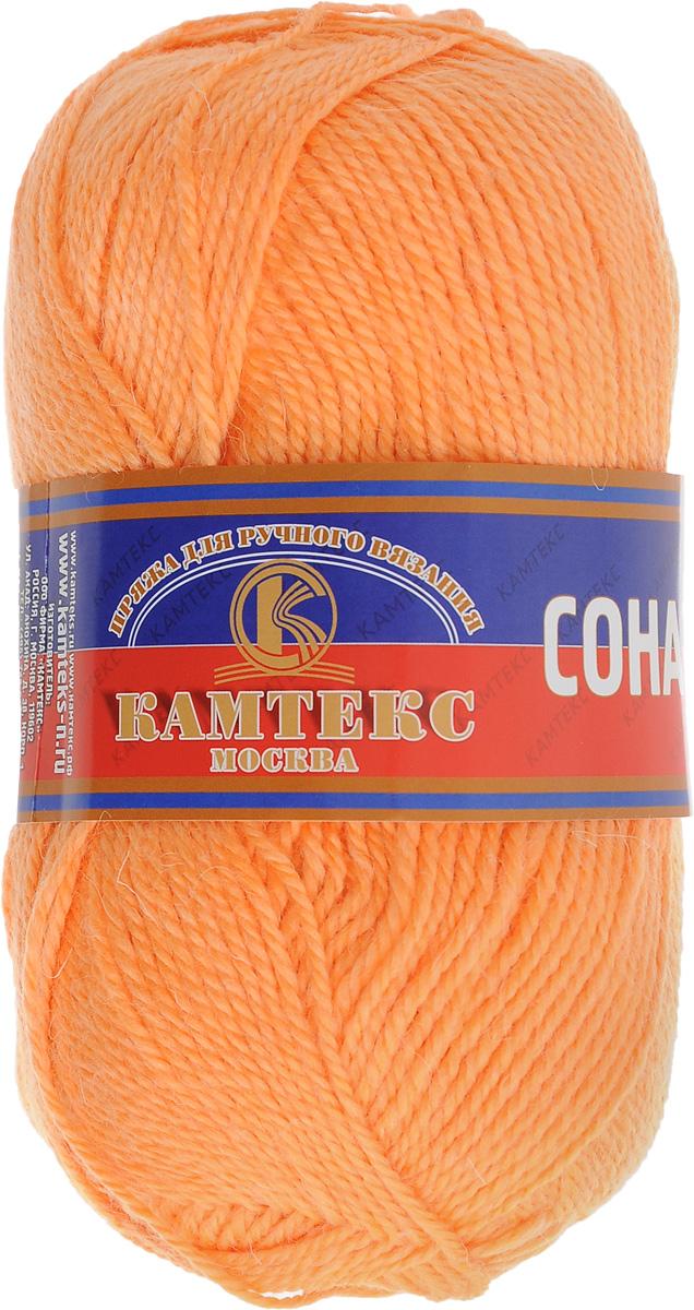 Пряжа для вязания Камтекс Соната, цвет: светло-оранжевый (035), 250 м, 100 г, 10 шт35_035Пряжа для вязания Камтекс Соната изготовлена из 50% шерсти, 50% акрила. Она вяжется легко и свободно, имеет богатую цветовую гамму от теплых пастельных тонов до ярких и смелых оттенков. Ворсистая ниточка ровно складывается в полотно, которое имеет минимальный процент усадки. Из пряжи Соната прекрасно вяжутся теплые туники, жилеты, свитера, платья и многие другие изделия. Рекомендуемые для вязания спицы и крючки 3-5 мм. Состав: 50% шерсть, 50% акрил. Комплектация: 10 шт. Толщина нити: 2 мм.