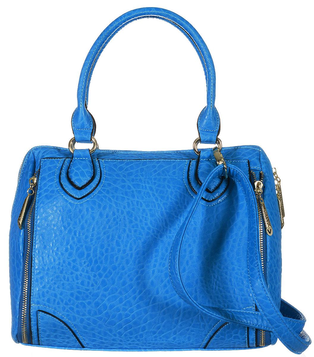 Сумка женская Vitacci, цвет: синий. 63501-163501-1Изысканная женская сумка Vitacci выполнена из качественной искусственной кожи. Сумка закрывается на замок-молнию. Удобные ручки крепятся к корпусу сумки на металлическую фурнитуру золотистого цвета. Внутри одно отделение. Вместительное внутреннее отделение содержит два накладных кармана для телефона и мелких принадлежностей, врезной карман на молнии, и отдельный глубокий карман на замке-молнии. Снаружи на задней стенке сумки размещен вшитый карман на молнии. Спереди, по бокам, модель декорирована вшитыми змейками-обманками, выполненные из металлической фурнитуры золотистого цвета. Сумка оснащена съемным плечевым ремнем регулируемой длины, которые позволят носить изделие как в руках так и на плече. Практичная и стильная сумка прекрасно завершит ваш образ.