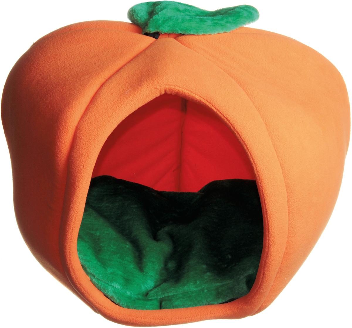 Домик для кошки Зооник Тыква, цвет: оранжевый, зеленый, 50 х 50 х 40 см22120Домик Тыква для кошек и маленьких собак обязательно понравится вашему питомцу. Изготовлен из мягкого флиса. Домик станет любимым местом отдыха вашего любимца и дополнит ваш интерьер необычным дизайном. Ваш любимец сразу же захочет забраться внутрь, там он сможет отдохнуть и спрятаться. Компактные размеры позволят поместить домик, где угодно, а приятная цветовая гамма сделает его оригинальным дополнением к любому интерьеру.