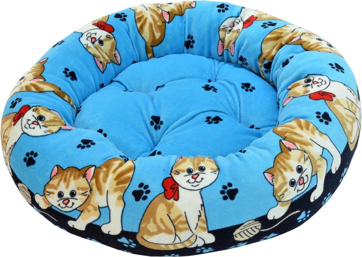 Лежак для животных Зооник, цвет: голубой, синий, 48 х 48 х 15 см22304Круглый лежак Зооник непременно станет любимым местом отдыха вашего домашнего животного. Изделие выполнено из высококачественного велюра, а наполнитель - из синтепона. Такой материал не теряет своей формы долгое время. Внутри имеется мягкая съемная подстилка. На таком лежаке вашему любимцу будет мягко и тепло. Он подарит вашему питомцу ощущение уюта и уединенности.