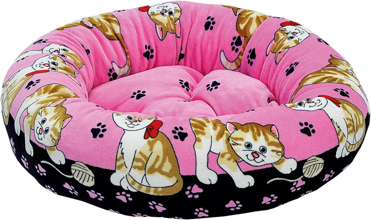 Лежак для животных Зооник, цвет: розовый, черный, 48 х 48 х 15 см22305Круглый лежак Зооник непременно станет любимым местом отдыха вашего домашнего животного. Изделие выполнено из высококачественного велюра, а наполнитель - из синтепона. Такой материал не теряет своей формы долгое время. Внутри имеется мягкая съемная подстилка. На таком лежаке вашему любимцу будет мягко и тепло. Он подарит вашему питомцу ощущение уюта и уединенности.