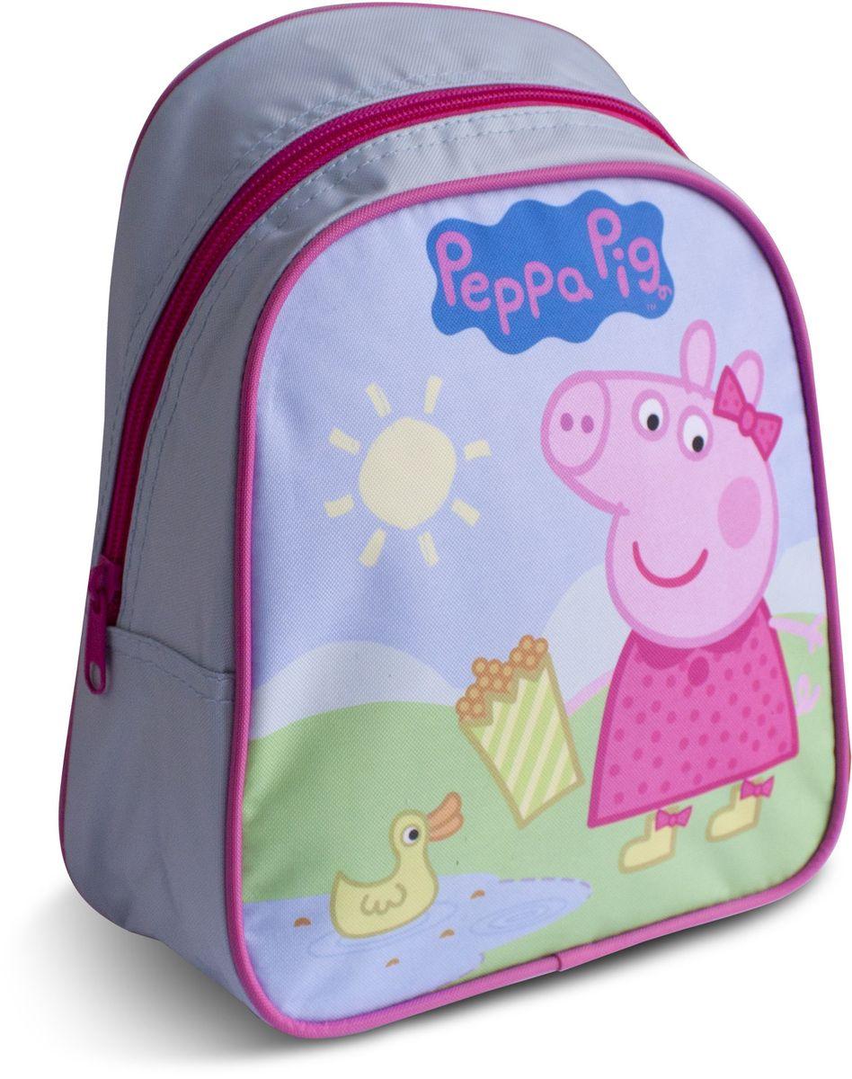 Peppa Pig Рюкзак дошкольный Пеппа и уточкаRA-545-4/2Милый дошкольный рюкзачок от Peppa Pig Пеппа и уточка - обязательно понравится каждой юной любительнице этого популярного мультфильма. Рюкзак выполнен из прочного полиэстера и водонепроницаемой ткани, украшен привлекательным принтом с изображением свинки Пеппы и уточки. Рюкзак имеет одно внутреннее отделение на молнии, регулируемые лямки и специальную ручку для размещения на вешалке, таким образом, рюкзак будет с вашей малышкой на протяжении многих лет. Порадуйте свою малышку таким замечательным подарком!