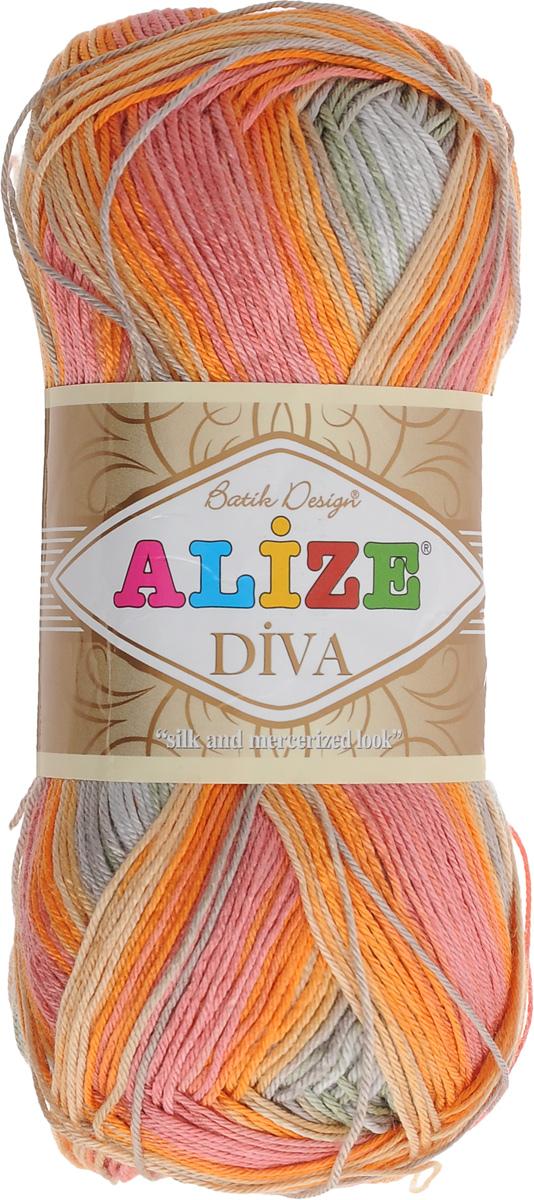 Пряжа для вязания Alize Diva. Batik Design, цвет: оранжевый, зеленый, розовый (3679), 350 м, 100 г364119_3679Пряжа для вязания Alize Diva. Batik Design - это тщательно обработанная акриловая пряжа, которая приобретает вид мерсеризованной нити с эффектом шелка. Пряжа обладает отличными свойствами: мягкая, воздухопроницаемая, прочная. Пряжа из микрофибры считается материалом нового поколения. Легкая шелковистая пряжа удлиненной секции окрашивания для весенних или летних вещей. Приятная на ощупь, гигроскопичная она подойдет для сарафанов, туник, платьев, легких костюмов, кофт, шалей и накидок. Пряжа не скатывается, не вызывает аллергию, не линяет и не оставляет ворсинок на другой одежде. Рекомендации по уходу: деликатная ручная стирка при 30°С, не отжимать в стиральной машине, не отбеливать хлорсодержащими веществами. Глажение на минимальной температуре. Сушите на горизонтальной поверхности: предварительно придав изделию естественную форму. Рекомендованный размер спиц: № 2,5-3,5. Рекомендованный размер крючка: № 1-3. Толщина...