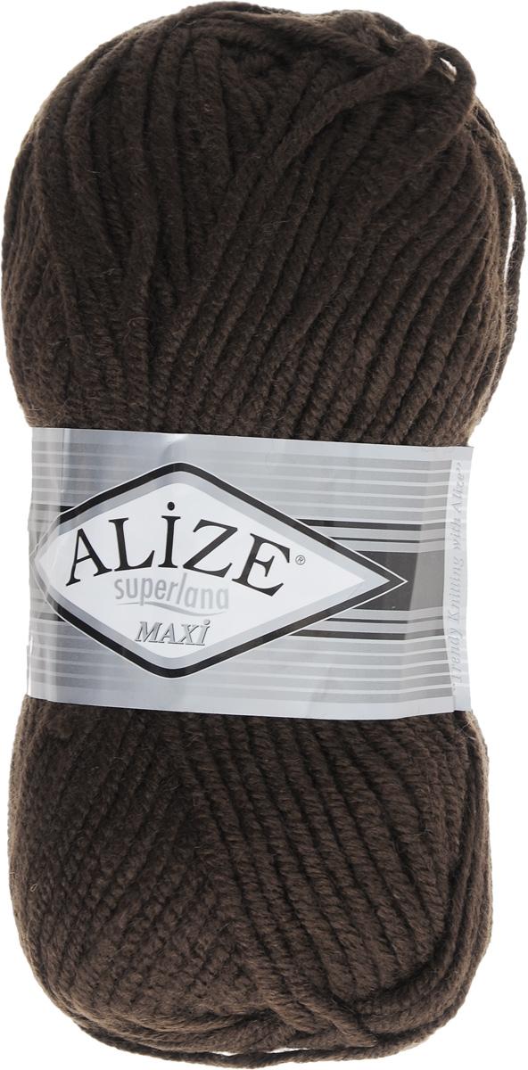 Пряжа для вязания Alize Superlana Maxi, цвет: темный шоколад (26), 100 м, 100 г, 5 шт364131_26Пряжа Alize Superlana Maxi обладает плотной скруткой (немного напоминает шнурок), при этом нить мягкая, чуть упругая. Благодаря составу и скрутке петли отлично ложатся одна к другой, вязаное полотно получается ровное и однородное. Пряжа с умеренным, недлинным ворсом, отлично ложится в узор и держит его. Мягкая, очень комфортная как для работы, так и для носки. В качестве моделей для вязки можно рекомендовать плотные вещи: пальто, осенние длинные кардиганы, пончо, болеро, мужские свитера. Рассчитана на любой уровень мастерства, но особенно понравится начинающим мастерицам - благодаря толстой нити пряжа Alize Superlana Maxi позволяет быстро связать простую вещь. Структура и состав пряжи максимально комфортны для вязания. Рекомендуемый размер спиц: № 8-10 мм. Состав: 75% акрил, 25% шерсть.