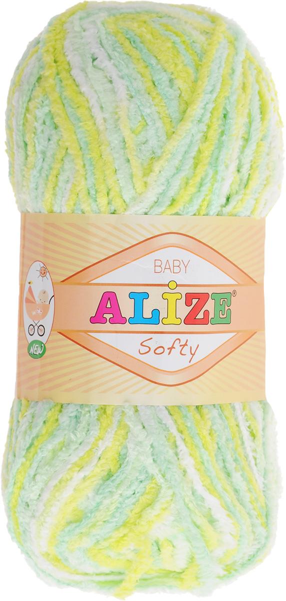 Пряжа для вязания Alize Softy, цвет: салатовый, белый, бирюзовый (51626), 115 м, 50 г, 5 шт694530_51626Пряжа для вязания Alize Softy изготовлена из микрополиэстера. Фантазийная плюшевая пряжа для ручного вязания прекрасно подойдет для детской одежды. Ниточка мягкая и приятная на ощупь. Подходит для вязания спицами и крючком. Рекомендованные спицы: №3-5, крючок: №2-4. Комплектация: 5 мотков.