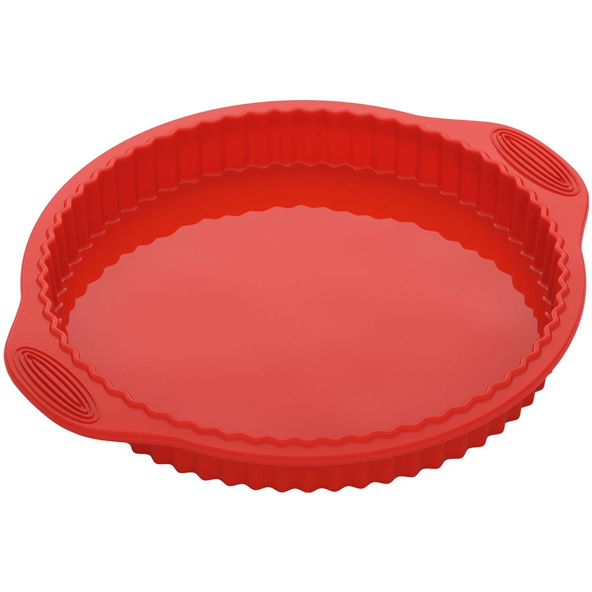 Форма Nadoba, круглая для пирога/пиццы, силиконовая762018Высококачественный жаропрочный силикон, стандарт LFGB (Германия), не белеет. Рабочие температуры: от 40 до 230 °С. Выпечка легко вынимается и не пригорает. Формы легко моются и их удобно хранить в сложенном виде.