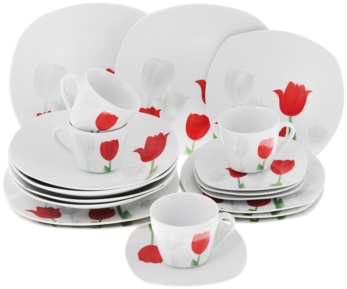 """Сервиз столовый Доляна """"Тюльпаны"""", 20 предметов"""