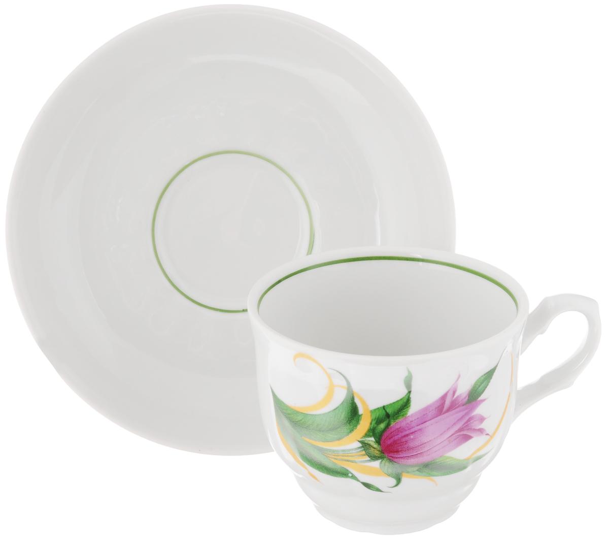 Чайная пара Тюльпан. Колокольчики, 2 предмета507779Чайная пара Тюльпан. Колокольчики состоит из чашки и блюдца, изготовленных из высококачественного фарфора. Яркий дизайн, несомненно, придется вам по вкусу. Чайная пара Тюльпан. Колокольчики украсит ваш кухонный стол, а также станет замечательным подарком к любому празднику. Объем чашки: 250 мл. Диаметр чашки (по верхнему краю): 8,7 см. Высота чашки: 7 см. Диаметр блюдца: 15 см. Высота блюдца: 3 см.