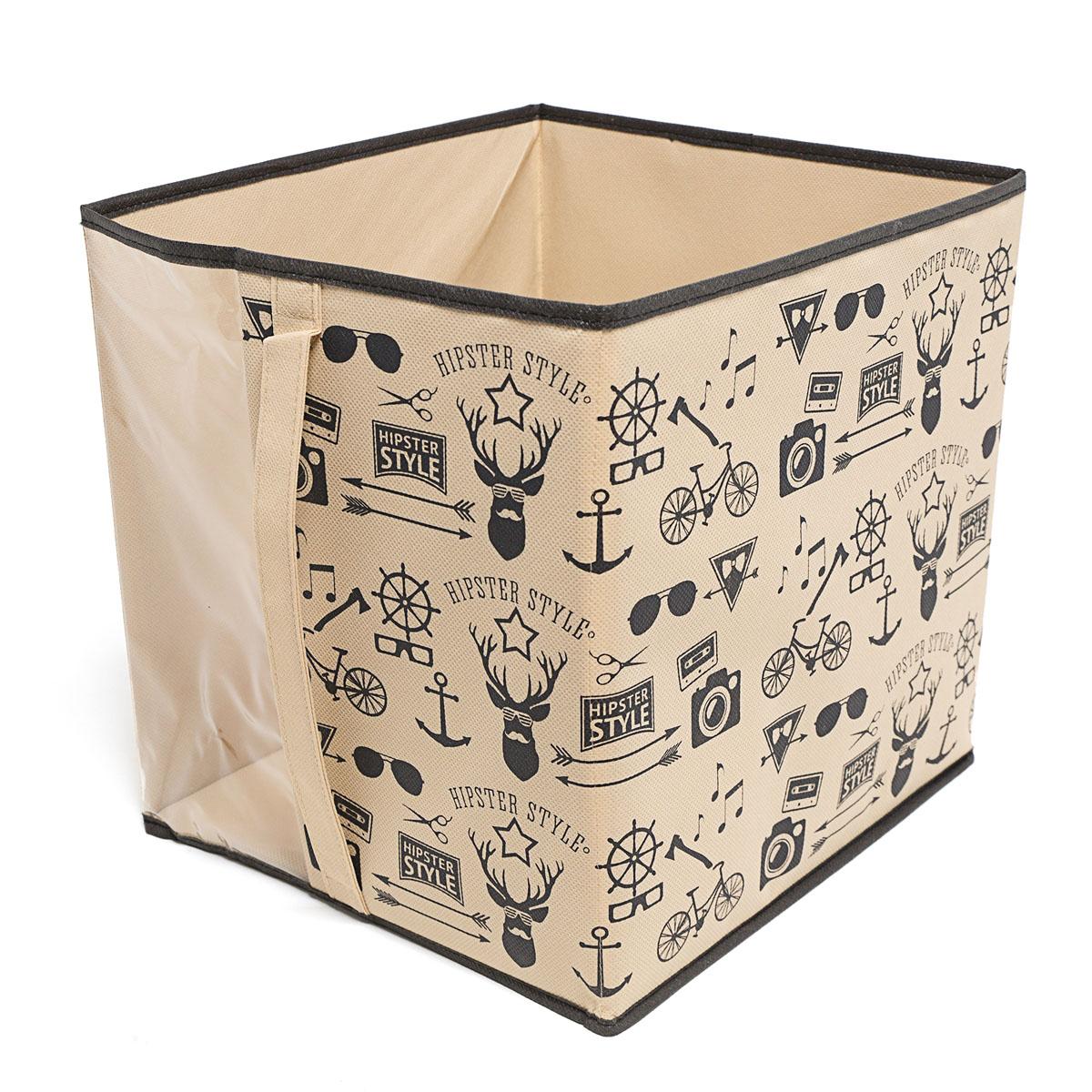 Кофр для хранения Homsu Hipster Style, 30 х 33 х 32 смHOM-117Кофр для хранения Homsu Hipster Style изготовлен из высококачественного нетканого полотна и декорирован красочным изображением. Кофр имеет одно большое отделение, где вы можете хранить различные бытовые вещи, нижнее белье, одежду и многое другое. Вставки из картона обеспечивают прочность конструкции. Стильный принт, модный цвет и качество исполнения сделают такой кофр незаменимым для хранения ваших вещей.