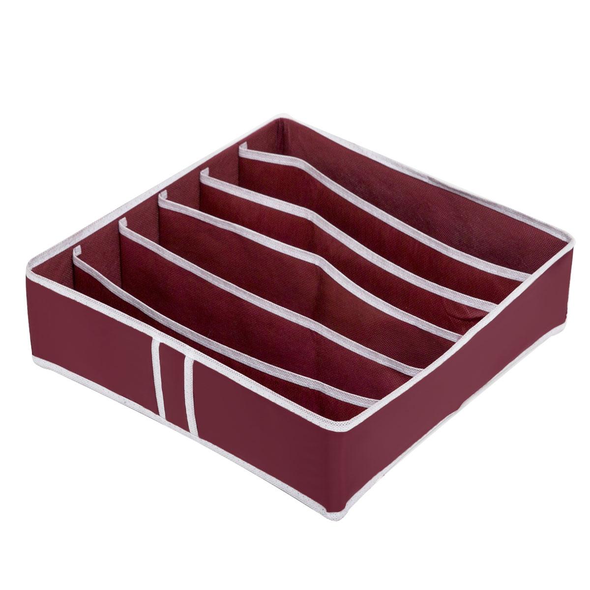 Органайзер для хранения Homsu Red Rose, 6 секций, 35 x 35 x 10 смHOM-13Компактный складной органайзер Homsu Red Rose изготовлен из высококачественного полиэстера, который обеспечивает естественную вентиляцию. Материал позволяет воздуху свободно проникать внутрь, но не пропускает пыль. Органайзер отлично держит форму, благодаря вставкам из плотного картона. Изделие имеет 6 секций для хранения нижнего белья, колготок, носков и другой одежды. Такой органайзер позволит вам хранить вещи компактно и удобно.