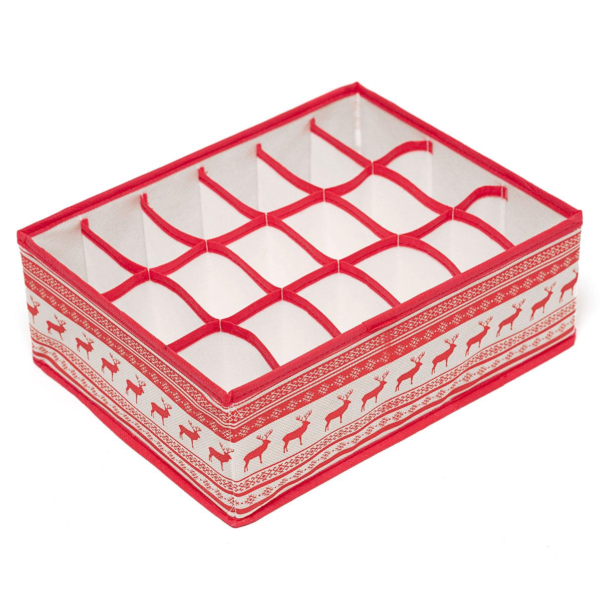 Органайзер для хранения вещей Homsu Scandinavia, 18 секций, 31 х 24 х 11 смHOM-130Компактный складной органайзер Homsu Scandinavia изготовлен из высококачественного полиэстера, который обеспечивает естественную вентиляцию. Материал позволяет воздуху свободно проникать внутрь, но не пропускает пыль. Органайзер отлично держит форму, благодаря вставкам из плотного картона. Изделие имеет 18 квадратных секций для хранения носков, платков, галстуков и других вещей. Такой органайзер позволит вам хранить вещи компактно и удобно. Размер секции: 7 х 5 см.