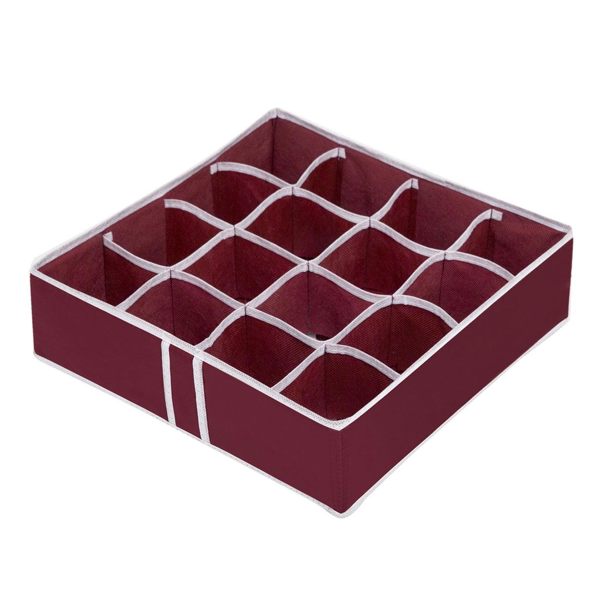 Органайзер для хранения вещей Homsu Red Rose, 16 секций, 35 x 35 x 10 смHOM-14Компактный складной органайзер Homsu Red Rose изготовлен из высококачественного полиэстера, который обеспечивает естественную вентиляцию. Материал позволяет воздуху свободно проникать внутрь, но не пропускает пыль. Органайзер отлично держит форму, благодаря вставкам из плотного картона. Изделие имеет 16 квадратных секций для хранения нижнего белья, колготок, носков и другой одежды. Такой органайзер позволит вам хранить вещи компактно и удобно. Размер секции: 8 х 8 см.