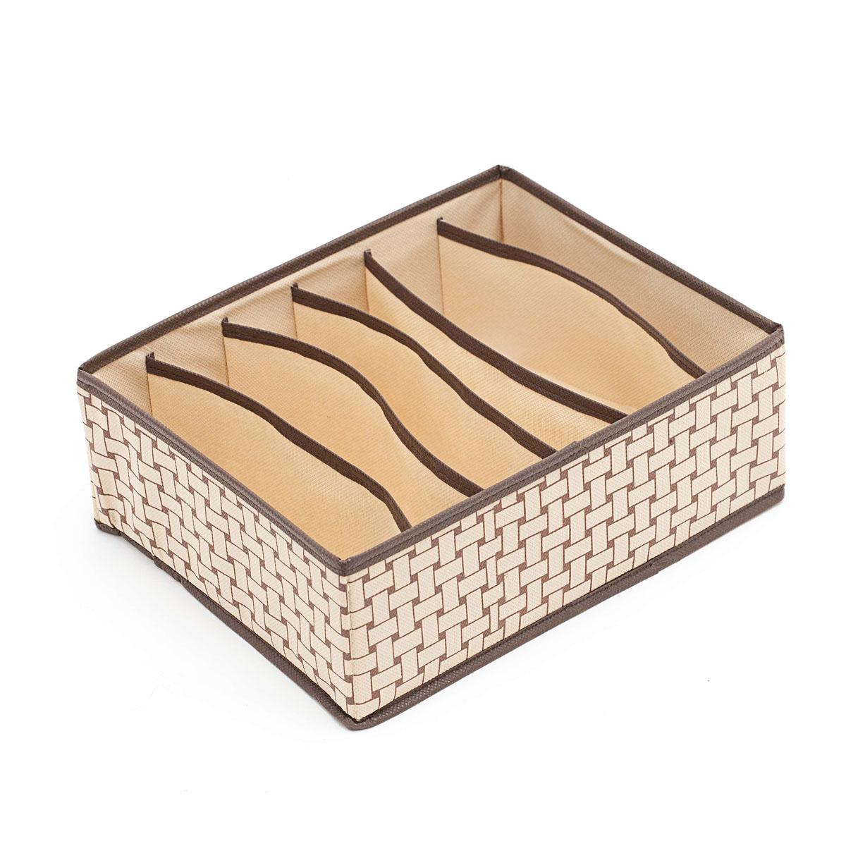 Органайзер для хранения Homsu Pletenka, 6 секций, 31 х 24 х 11 смHOM-162Компактный органайзер Homsu Pletenka изготовлен из высококачественного полиэстера, который обеспечивает естественную вентиляцию. Материал позволяет воздуху свободно проникать внутрь, но не пропускает пыль. Органайзер отлично держит форму, благодаря вставкам из плотного картона. Изделие имеет 6 секций для хранения нижнего белья, колготок, носков и другой одежды. Такой органайзер позволит вам хранить вещи компактно и удобно.