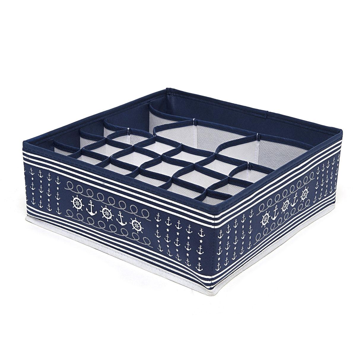 Органайзер для хранения вещей Homsu Ocean, 22 секции, 30 х 30 х 11 смHOM-222Компактный органайзер Homsu Ocean изготовлен из высококачественного полиэстера, который обеспечивает естественную вентиляцию. Материал позволяет воздуху свободно проникать внутрь, но не пропускает пыль. Органайзер отлично держит форму, благодаря вставкам из плотного картона. Изделие имеет 22 квадратные секции для хранения нижнего белья, колготок, носков и другой одежды. Такой органайзер позволит вам хранить вещи компактно и удобно.
