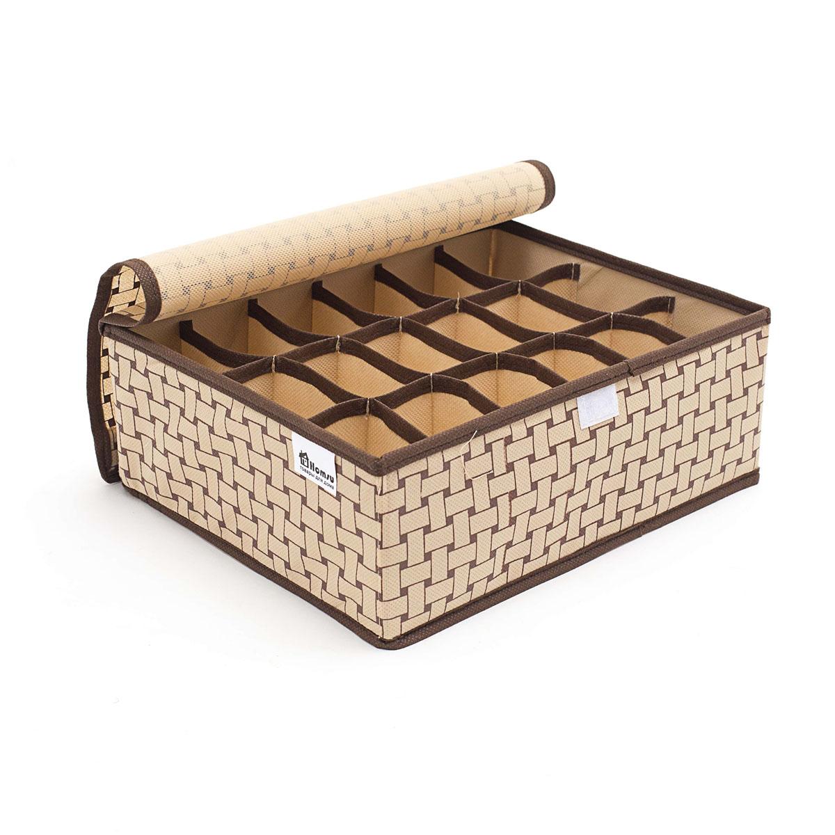 Органайзер для хранения вещей Homsu Pletenka, 18 секций, 31 х 24 х 11 смHOM-302Компактный складной органайзер Homsu Pletenka изготовлен из высококачественного полиэстера, который обеспечивает естественную вентиляцию. Материал позволяет воздуху свободно проникать внутрь, но не пропускает пыль. Органайзер отлично держит форму, благодаря вставкам из плотного картона. Изделие имеет 18 квадратных секций для хранения нижнего белья, колготок, носков и другой одежды. Такой органайзер позволит вам хранить вещи компактно и удобно, а оригинальный дизайн сделает вашу гардеробную красивой и невероятно стильной.