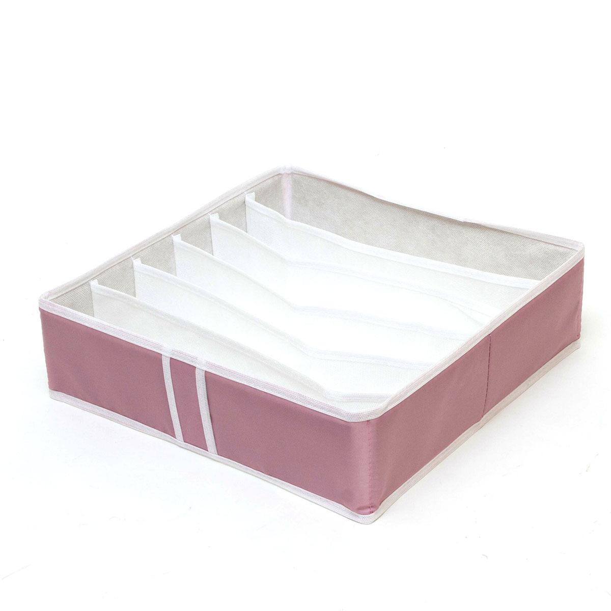 Органайзер для хранения Homsu Capri, 6 секций, 35 x 35 x 10 смHOM-34Компактный органайзер Homsu Capri изготовлен из высококачественного полиэстера, который обеспечивает естественную вентиляцию. Материал позволяет воздуху свободно проникать внутрь, но не пропускает пыль. Органайзер отлично держит форму, благодаря вставкам из плотного картона. Изделие имеет 6 секций для хранения носков, платков, галстуков и других вещей. Такой органайзер позволит вам хранить вещи компактно и удобно. Размер секции: 32 х 5 см.
