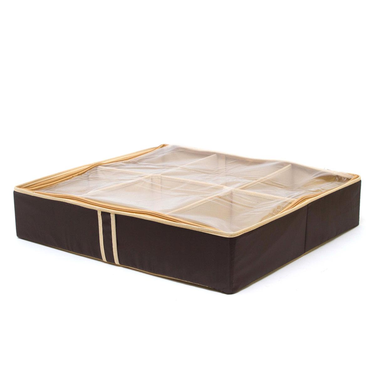 Органайзер для хранения обуви Homsu Costa-Rica, 6 секций, 56 х 52 х 12 смHOM-45Очень удобный способ хранить сезонную обувь. Шесть отделений размером 10см на 7см вмещают 6 пар обуви, высокий каблук, сапожки. Органайзер плоский, удобно хранить под кроватью или диваном. Внутренние секции можно моделировать под размеры обуви, например высокие сапоги.Имеет жесткие борта, что является гарантией сохраности вещей. Фактический цвет может отличаться от заявленного.