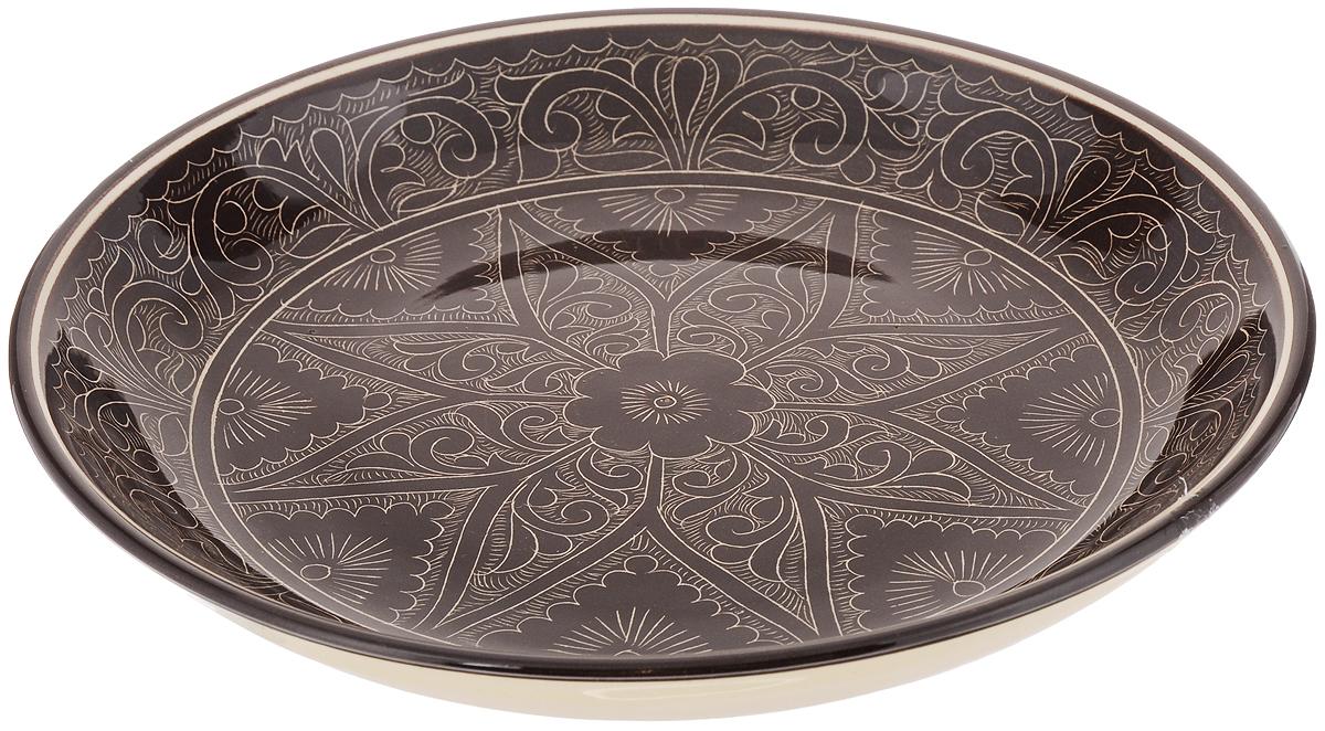 Ляган Sima-land Риштан, цвет: темно-коричневый, слоновая кость, диаметр 25 см