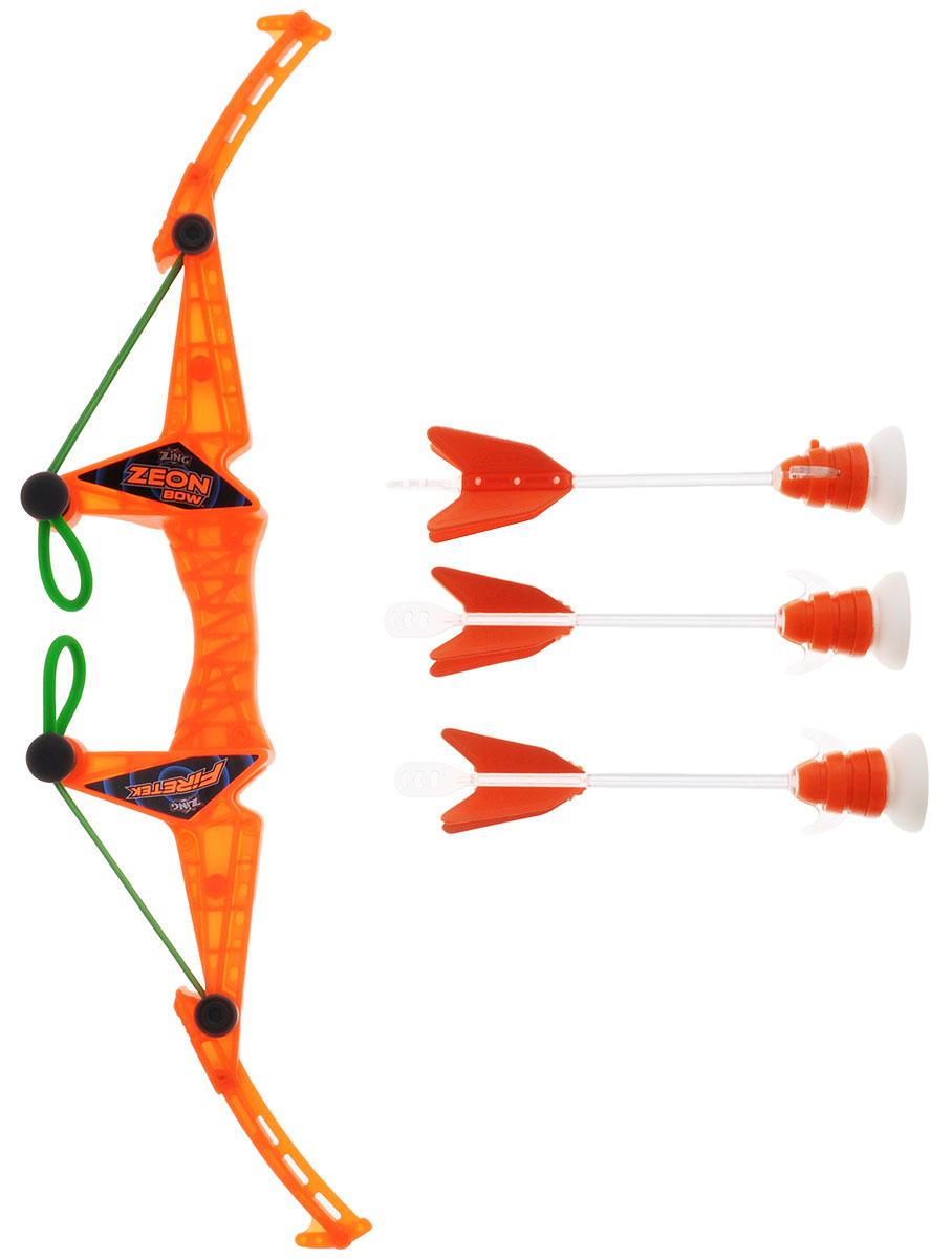 Zing Игровой набор Firetek Zeon Bow цвет оранжевыйFT811_оранжевыйИгровой набор Zing Firetek Zeon Bow - это замечательный набор, включающий ультрасовременный лук и три стрелы с присосками. Игра удивительно проста и увлекательна - для того чтобы запустить стрелу в воздух, необходимо, зацепив стрелу за резиновые петли, одной рукой ухватится за ручку лука, а другой оттянуть стрелу назад. Когда резиновая петля будет натянута достаточно сильно, прицеливайтесь и отпускайте стрелу. Дальность стрельбы зависит от силы натяжения резинки и достигает 10 метров! Во время полета стрела издает свистящий звук за счет специального отверстия в её наконечнике. Стрелы окрашены в яркие цвета, что облегчает их поиск после выстрела. Также вы можете отслеживать траекторию полёта стрелы благодаря издаваемому ею звуку.