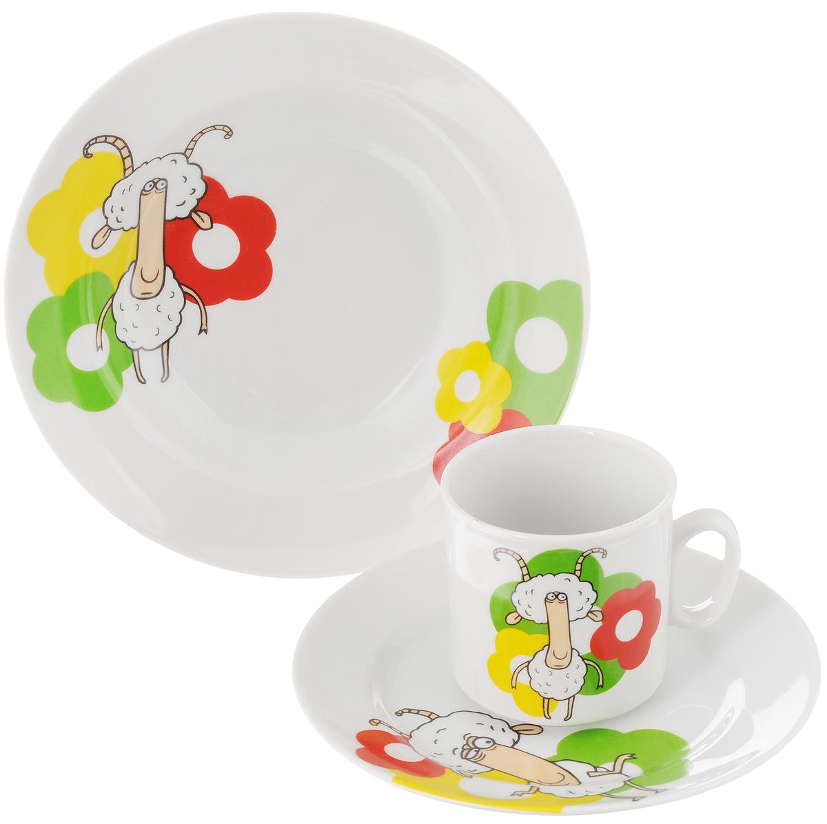 Набор посуды Идиллия. Барашки, 3 предмета. 10354751035475Набор посуды Идиллия. Барашки состоит из кружки, десертной тарелки и салатника. Изделия выполнены из высококачественного фарфора, украшенного красочным рисунком. Набор посуды Идиллия. Барашки прекрасно подойдет для вашего ребенка. В наборе есть вся необходимая посуда для завтраков, обедов и ужинов. Красивый дизайн порадует малыша и превратит прием пищи в веселое занятие. Объем салатника: 360 мл. Диаметр салатника (по верхнему краю): 14,5 см. Высота салатника: 5 см. Диаметр тарелки (по верхнему краю): 17 см. Высота тарелки: 2 см. Объем кружки: 200 мл. Диаметр кружки (по верхнему краю): 7,2 см. Высота кружки: 7,5 см.
