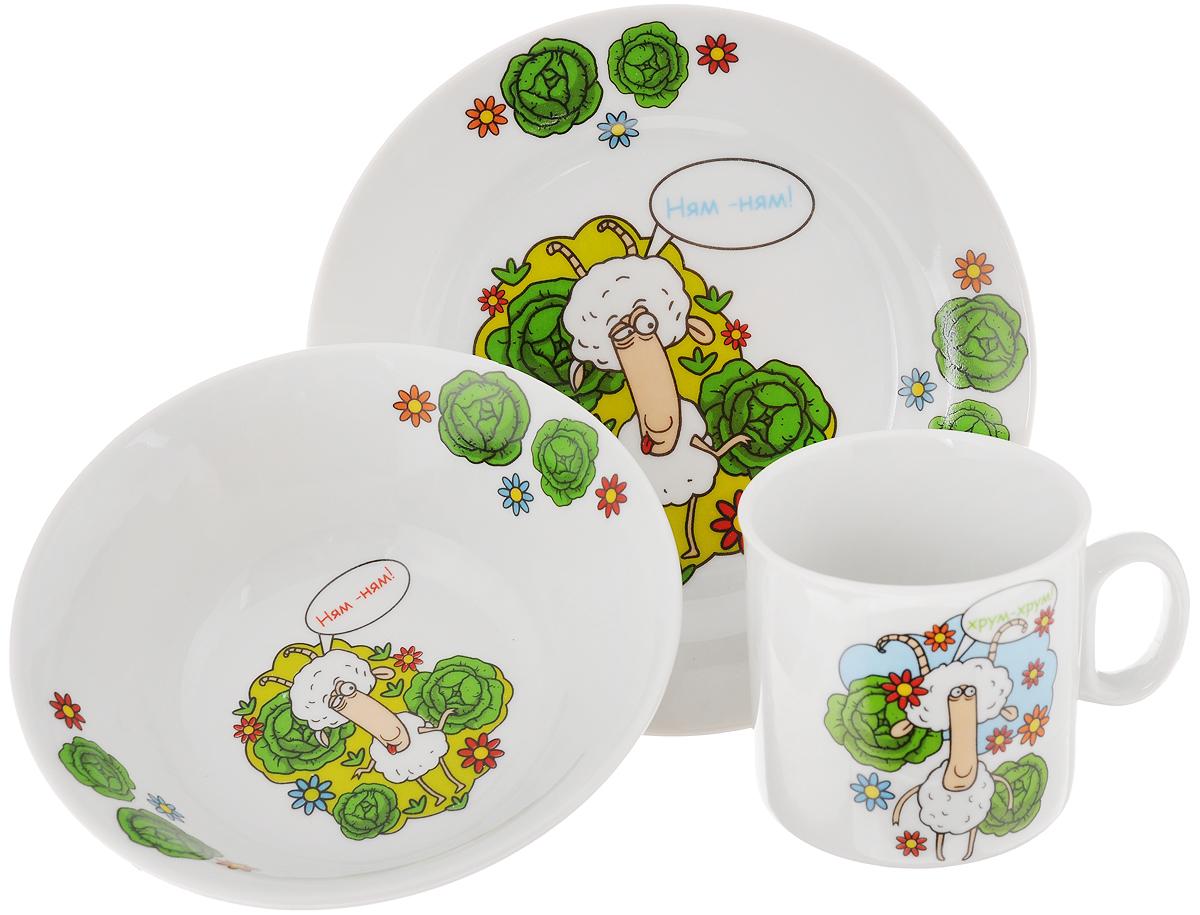 Набор посуды Идиллия. Барашки, 3 предмета1035474Набор посуды Идиллия. Барашки состоит из кружки, десертной тарелки и салатника. Изделия выполнены из высококачественного фарфора, украшенного красочным рисунком. Набор посуды Идиллия. Барашки прекрасно подойдет для вашего ребенка. В наборе есть вся необходимая посуда для завтраков, обедов и ужинов. Красивый дизайн порадует малыша и превратит прием пищи в веселое занятие. Объем салатника: 360 мл. Диаметр салатника (по верхнему краю): 14,5 см. Высота салатника: 5 см. Диаметр тарелки (по верхнему краю): 17 см. Высота тарелки: 2 см. Объем кружки: 200 мл. Диаметр кружки (по верхнему краю): 7,2 см. Высота кружки: 7,5 см.