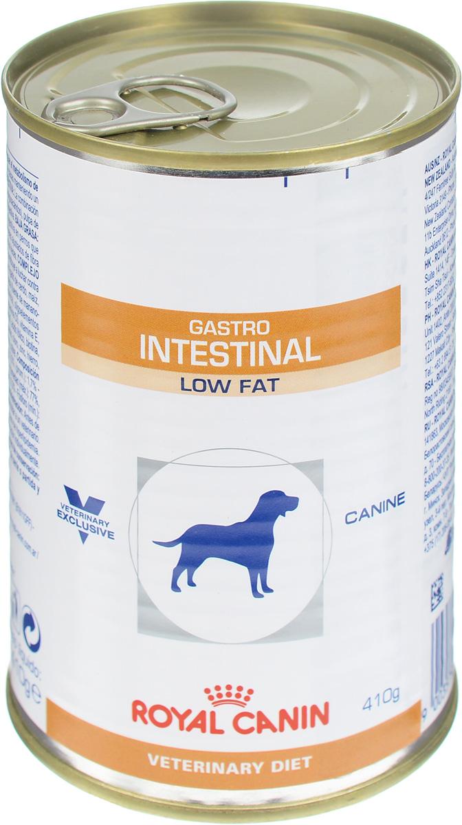 Консервы для собак Royal Canin Gastro Intestinal Low Fat, при нарушении пищеварения, c пониженным содержанием жира, 410 г22323Royal Canin Gastro Intestinal Low Fat - это полнорационный диетический корм для собак, способствующий регуляции метаболизма липидов при гиперлипидемии. Этот продукт содержит малое количество жиров и высокий уровень основных жирных кислот. Показания к применению: - острая и хроническая диарея; - гиперлипидемия; - острый панкреатит (в том числе перенесенный ранее); - пролиферация бактерий в тонком кишечнике; - лимфангиэктазия – экссудативная энтеропатия; - экзокринная недостаточность поджелудочной железы. Противопоказания: - беременность и лактация. Длительность применения диеты варьируется в зависимости от тяжести симптомов нарушения пищеварения. Для оптимальной работы пищеварительной системы необходимо соблюдение суточного рациона и увеличение его кратности кормлений в день. Сочетание высококачественных белков с высокой степенью усвояемости, пребиотиков (фруктоолигосахариды и...