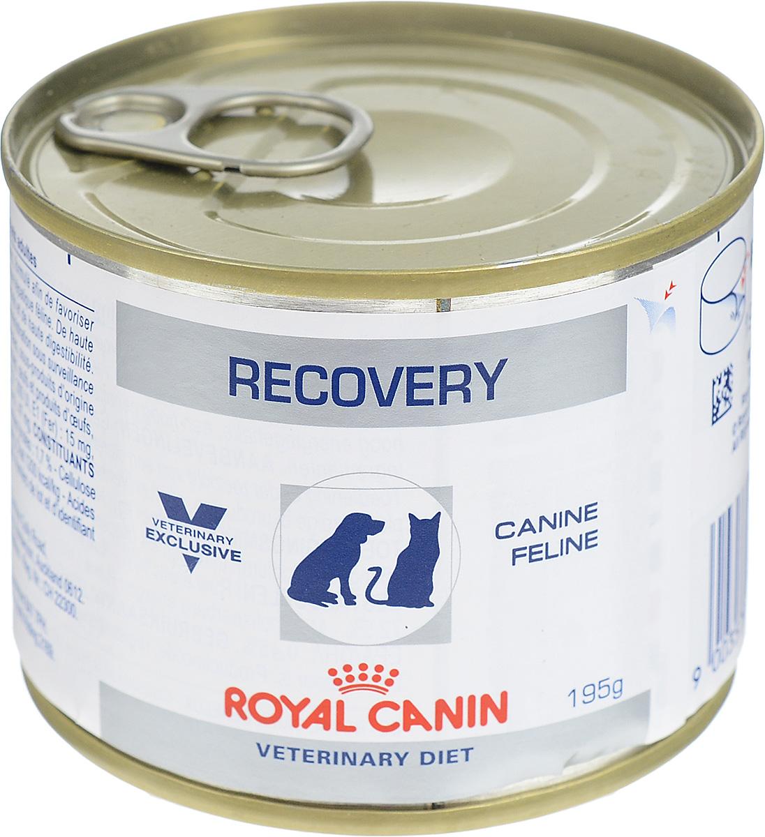 Консервы для собак и кошек Royal Canin Recovery, в период анорексии и выздоровления, 195 г27549Полнорационный диетический корм Royal Canin Recovery предназначен для кошек и собак в период восстановления после болезни и интенсивной терапии. Показания: - Анорексия – нарушения питания. - Поддержание организма после операций и во время интенсивной терапии. - Период выздоровления. - Искусственное энтеральное кормление. - Липидоз печени у кошек. - Беременность, лактация, рост. Высокое содержание энергии в диетическом корме Royal Canin Recovery помогает компенсировать уменьшение объема потребляемого корма у привередливых в еде животных. Консистенция позволяет легко вводить его шприцем или с помощью зонда. У собак и кошек, находящихся в стационаре, нередко наблюдают снижение аппетита и потерю массы тела. Консервы обладают высокой вкусовой привлекательностью, благодаря чему животные охотно их поедают. Комплекс антиоксидантов синергичного действия (витамины Е и С, таурин, лютеин) помогает противостоять...